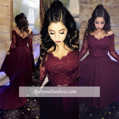 Newest A-line Hi low Beads Long-Sleeve Lace-Appliques Burgundy Prom Dress_1