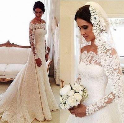 2020 Lace Long Sleeves Wedding Dresses Off Shoulder Elegant A-line Bridal Dresses_3