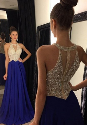Red Chiffon Prom Dresses Halter V Neck Sleeveless Beading Long A-line Evening Gowns_3