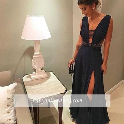 Chiffon Deep-v-neck Dark-Navy Beading Split-Front Floor-length Evening Dress_1