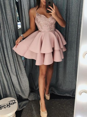 Sexy White Ruffles Homecoming Dresses | Spaghetti Straps Lace Applique Short Cocktail Dresses_4