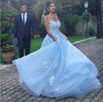 Gorgeous A Line Appliques Lace Tulle Prom Dresses 2018 with Flower_3