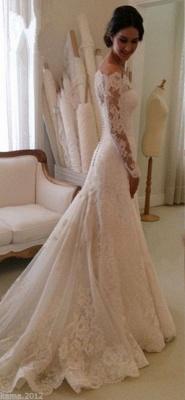 2020 Lace Long Sleeves Wedding Dresses Off Shoulder Elegant A-line Bridal Dresses_2