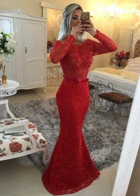 Long Sleeves Lace Mermaid Prom Dresses Red Scoop Backless Long Evening Gowns_1