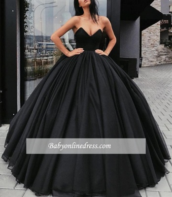 Black Sweetheart Ball-Gown Sleeveless Sexy Prom Dresses_1