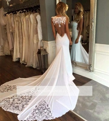 Appliques Mermaid Wedding Dresses with Chapel Train | Sleeveless Trumpet Bridal Gowns_1