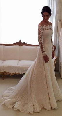 2020 Lace Long Sleeves Wedding Dresses Off Shoulder Elegant A-line Bridal Dresses_1