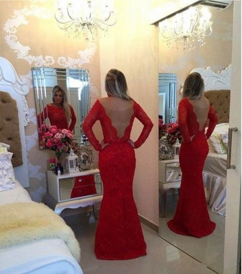 Long Sleeves Lace Mermaid Prom Dresses Red Scoop Backless Long Evening Gowns_4