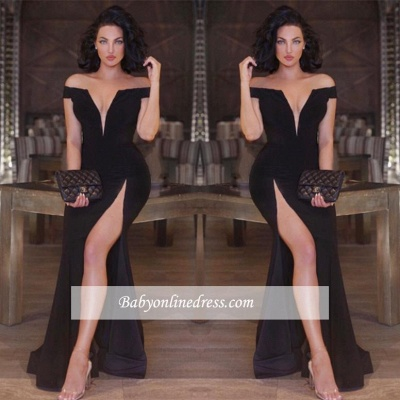 New Arrival Off-the-shoulder Black Part Dresses Front-Split Mermaid V-neck Prom Dress_1