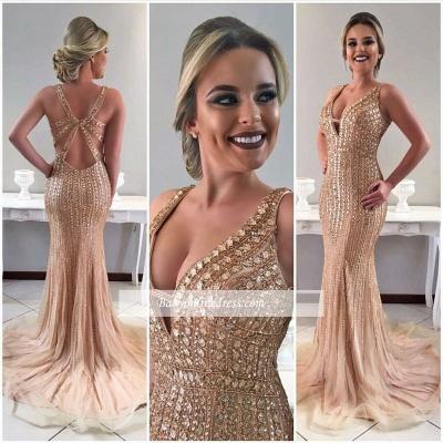 Crystal Gorgeous Sleeveless Mermaid Sweep-Train Straps Prom Dress_1