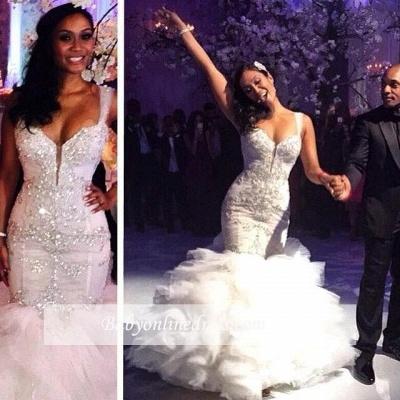 Ruffles Spaghetti Straps Tulle Crystal Mermaid Wedding Dresses_1