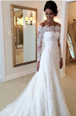 2020 Lace Long Sleeves Wedding Dresses Off Shoulder Elegant A-line Bridal Dresses_4