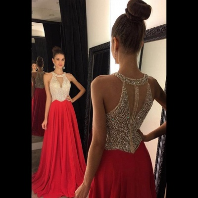 Red Chiffon Prom Dresses Halter V Neck Sleeveless Beading Long A-line Evening Gowns_2