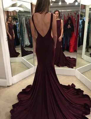 Sexy Backless Mermaid Prom Dresses Purple Court Train Evening Gowns_3