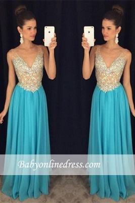 Sexy V-Neck Prom Dresses Crystal Ruffles Sleevelesss Evening Gowns_3