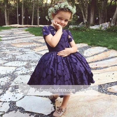 Short Sleeve Knee-Length Lace Jewel Lovely Flower Girl Dress_1