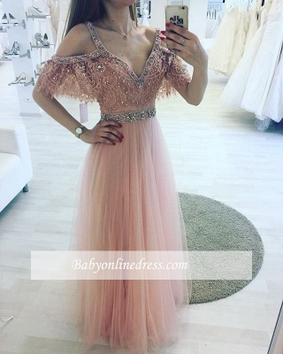 Charming A-line Pink Lace V-neck Beading Floor-length Evening Dress_3