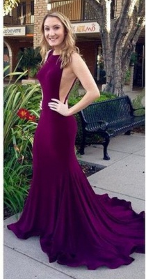Sexy Backless Mermaid Prom Dresses Purple Court Train Evening Gowns_1