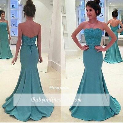 Green Lace Strapless Long Prom Dress Mermaid Evening Gowns with Sash_1