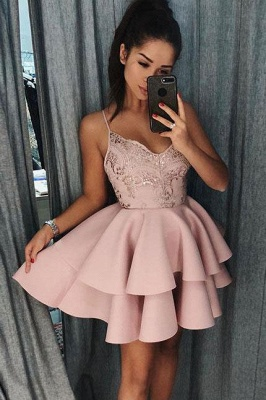 Sexy White Ruffles Homecoming Dresses | Spaghetti Straps Lace Applique Short Cocktail Dresses_3