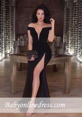 New Arrival Off-the-shoulder Black Part Dresses Front-Split Mermaid V-neck Prom Dress_3