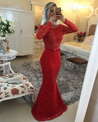 Long Sleeves Lace Mermaid Prom Dresses Red Scoop Backless Long Evening Gowns_2