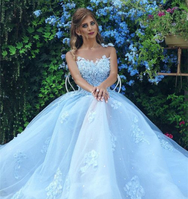 Gorgeous A Line Appliques Lace Tulle Prom Dresses 2018 with Flower_4