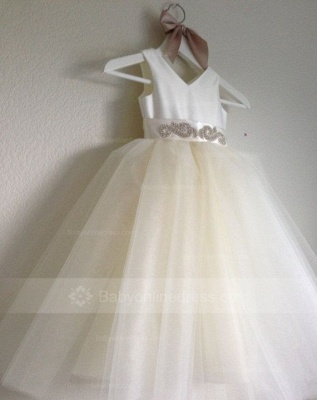 Lovely V-Neck Tulle Flower Girls Dresses Floor Length Crystal Pageant Dresses_3