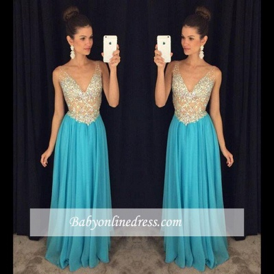 Sexy V-Neck Prom Dresses Crystal Ruffles Sleevelesss Evening Gowns_1