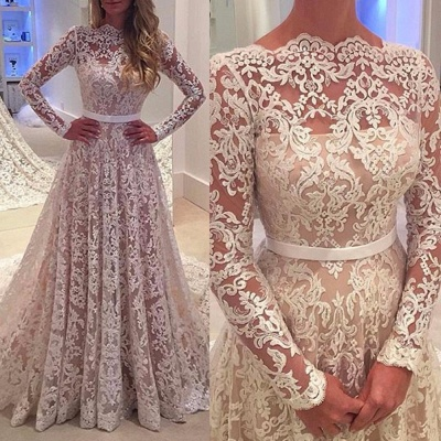 Bowknot Long-Sleeves A-Line Backless Lace Elegant Wedding Dresses_3