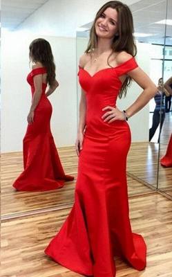 Red Off-the-Shoulder Mermaid Prom Dresses Sweep Train Party Gowns_1