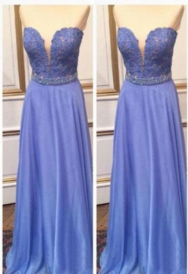Cheap Sweetheart Lace Crystal A-Line Floor Length Prom Dresses_2
