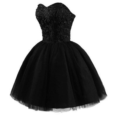 Lace Sweetheat Homecoming Little Black Dresses Sequins Mini Cocktail Dresses_4