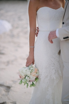 Hot Lace Beach Wedding Dresses For Summer | Mermaid Strapless Bridal Gowns_4