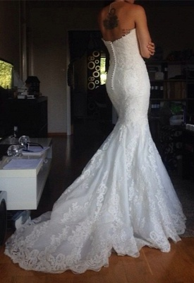 Simple White Appliques Strapless Bridal Gowns Tulle Buttons Wedding Dress_3