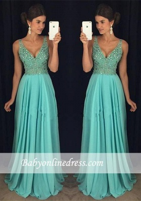 Elegant V-Neck Prom Dress 2018 Beadings Long Chiffon Party Gowns_3