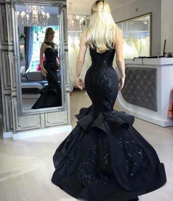 Shiny Black Mermaid Prom Dresses | Sleeveless Beaded Ruffles Skirt Evening Gowns_4