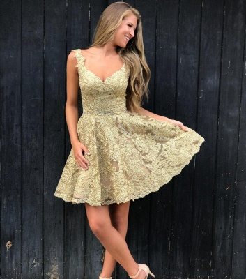 Brilliant Gold A-Line Homecoming Dresses | V-Neck Sleeves Lace Applique Beaded Mini Cocktail Dresses_3