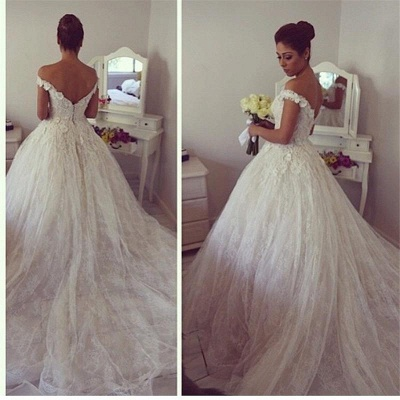 2020 Elegant Tulle Lace Wedding Dresses Off-the-Shoulder Bridal Ball Gowns_3