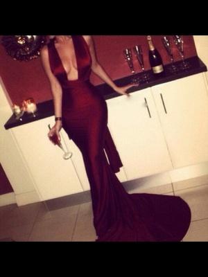 Maroon Mermaid Prom Dresses Deep V Neck Crisscross Back Sexy Evening Gowns_1