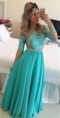 A-Line Long Sleeves Lace Prom Dresses Chiffon Long Evening Gowns with Beadings_3