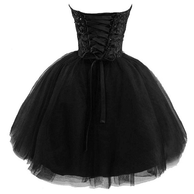 Lace Sweetheat Homecoming Little Black Dresses Sequins Mini Cocktail Dresses_2