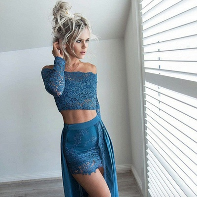Sexy Two Pieces Mini Homecoming Dresses | Off-The-Shoulder Lace Party Dresses With Over Skirt_4
