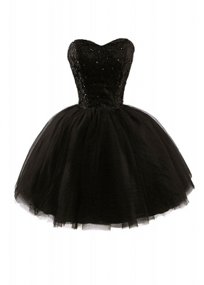 Lace Sweetheat Homecoming Little Black Dresses Sequins Mini Cocktail Dresses_1