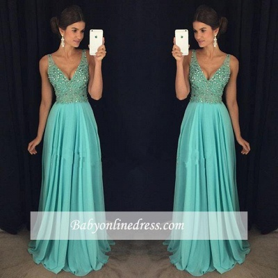 Elegant V-Neck Prom Dress 2018 Beadings Long Chiffon Party Gowns_1