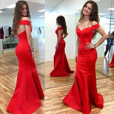Red Off-the-Shoulder Mermaid Prom Dresses Sweep Train Party Gowns_3