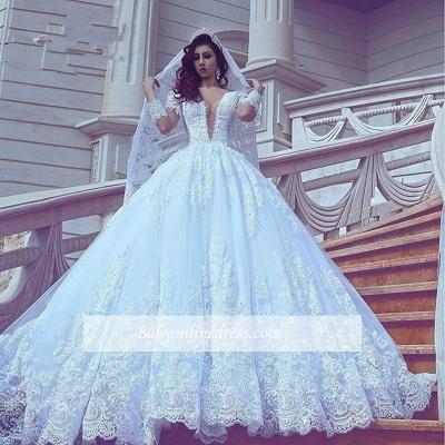 Court-Train Lace Ball-Gown V-neck Long-Sleeve Modest Wedding Dress_1