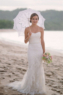 Hot Lace Beach Wedding Dresses For Summer | Mermaid Strapless Bridal Gowns_1