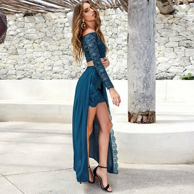 Sexy Two Pieces Mini Homecoming Dresses | Off-The-Shoulder Lace Party Dresses With Over Skirt_3