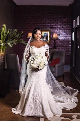 Elegant Long sleeve Applique Fitted Mermaid Wedding Dress_2